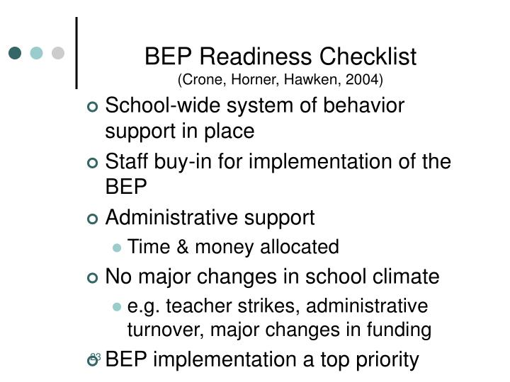 BEP Readiness Checklist
