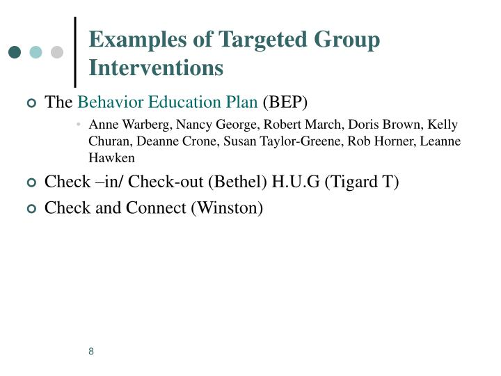 Examples of Targeted Group Interventions