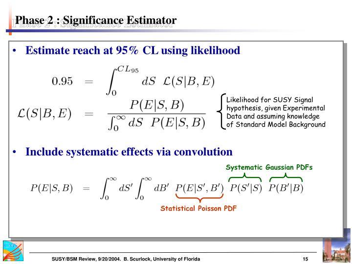 Phase 2 : Significance Estimator