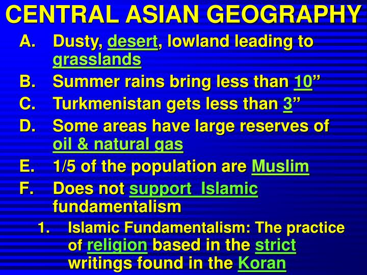 CENTRAL ASIAN GEOGRAPHY