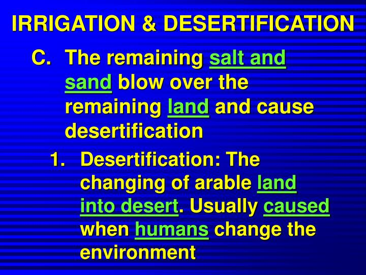 IRRIGATION & DESERTIFICATION