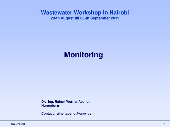 Wastewater Workshop in Nairobi