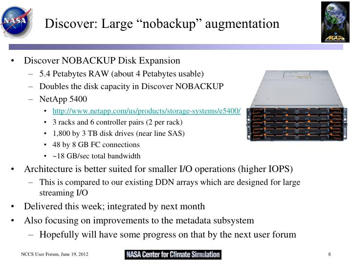 """Discover: Large """"nobackup"""" augmentation"""