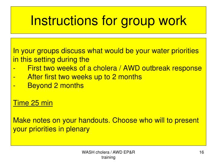 Instructions for group work