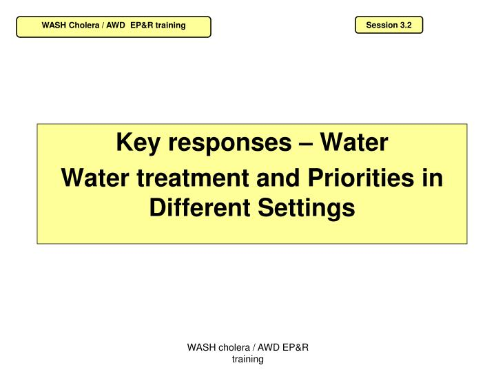 Key responses water water treatment and priorities in different settings