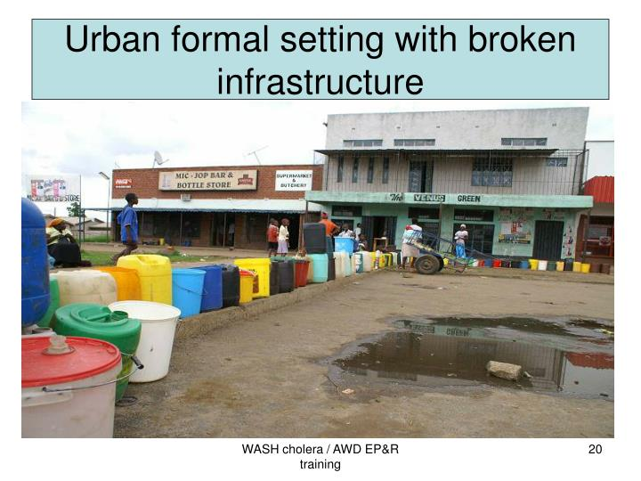 Urban formal setting with broken infrastructure