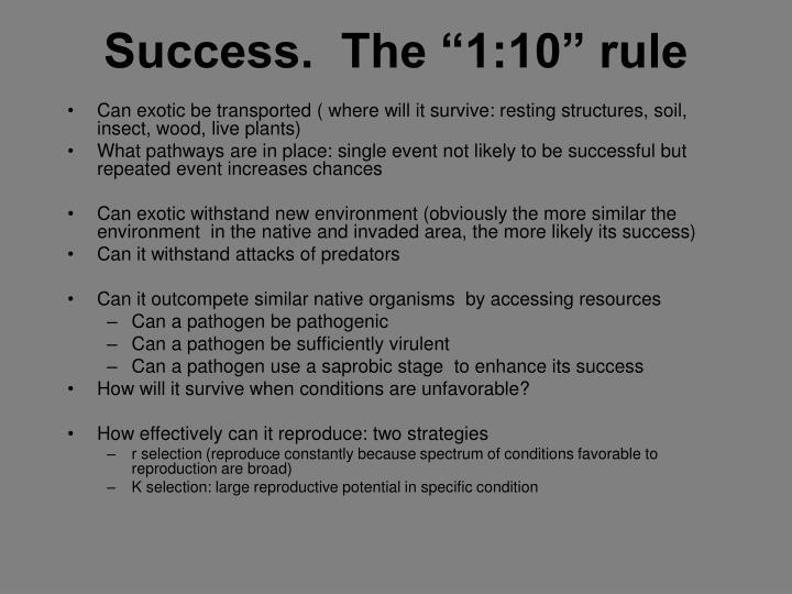 """Success.  The """"1:10"""" rule"""