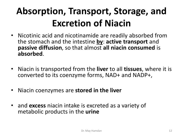 Absorption, Transport, Storage, and Excretion of Niacin