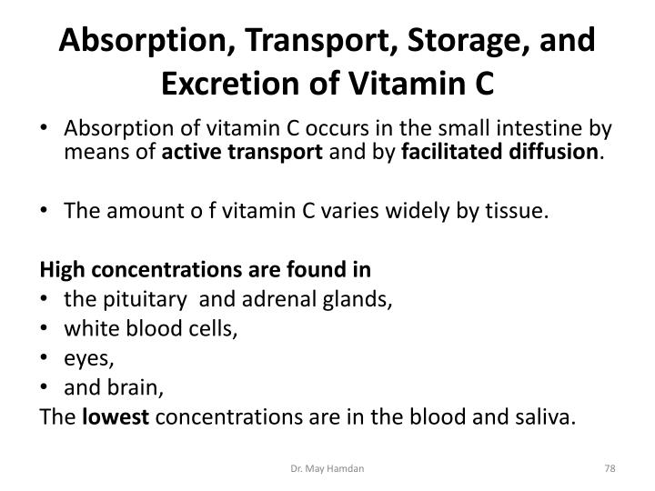 Absorption, Transport, Storage, and Excretion of Vitamin C