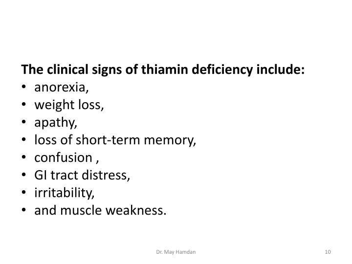 The clinical signs of thiamin deficiency include: