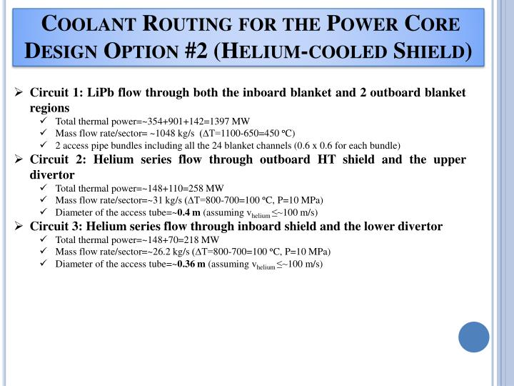 Coolant Routing for the Power Core Design Option #2 (Helium-cooled Shield)