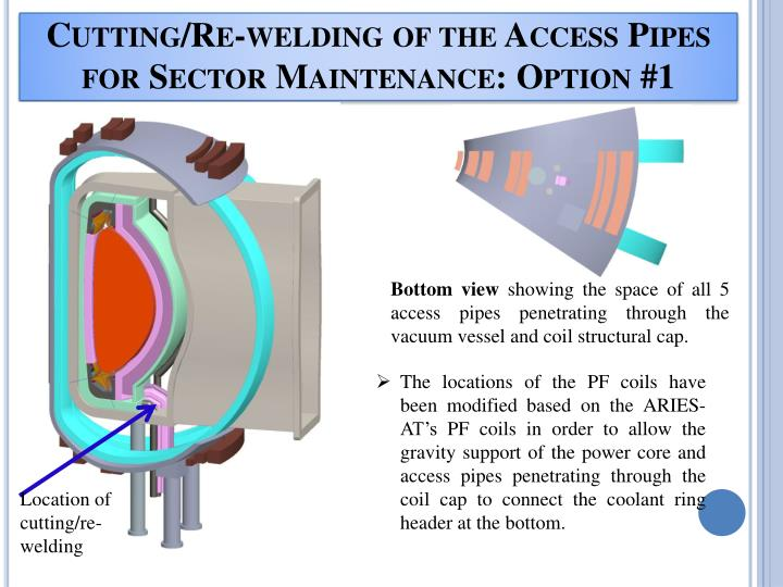 Cutting/Re-welding of the Access Pipes for Sector Maintenance: Option #1