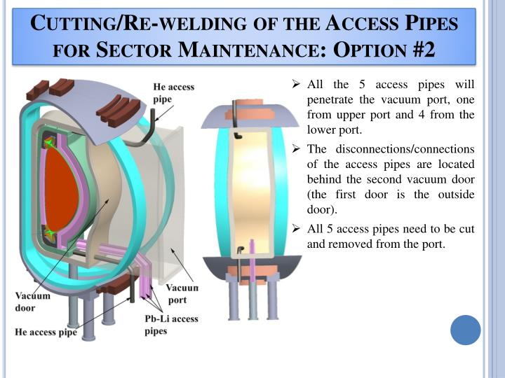 Cutting/Re-welding of the Access Pipes for Sector Maintenance: Option #2