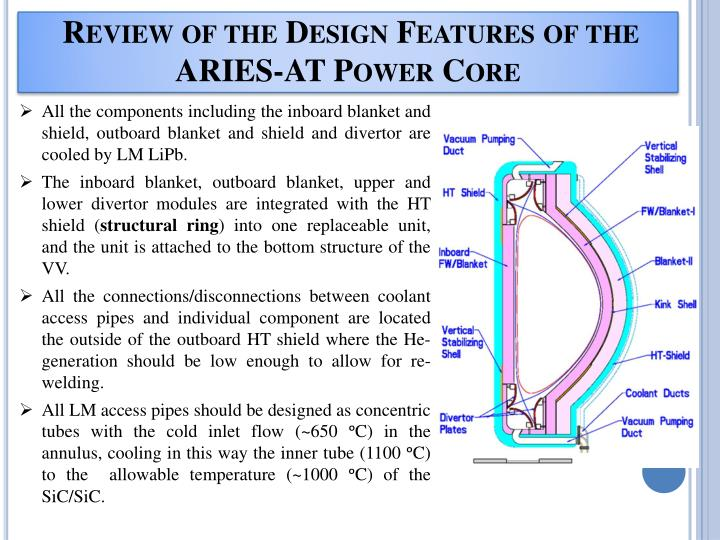 Review of the design features of the aries at power core