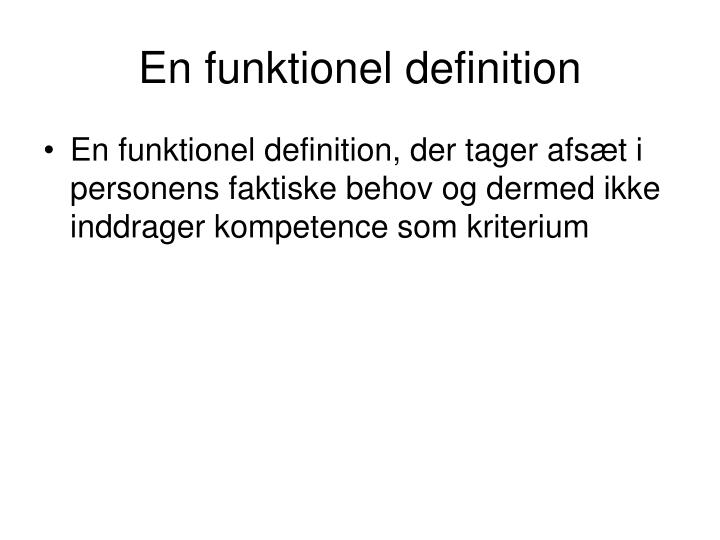 En funktionel definition