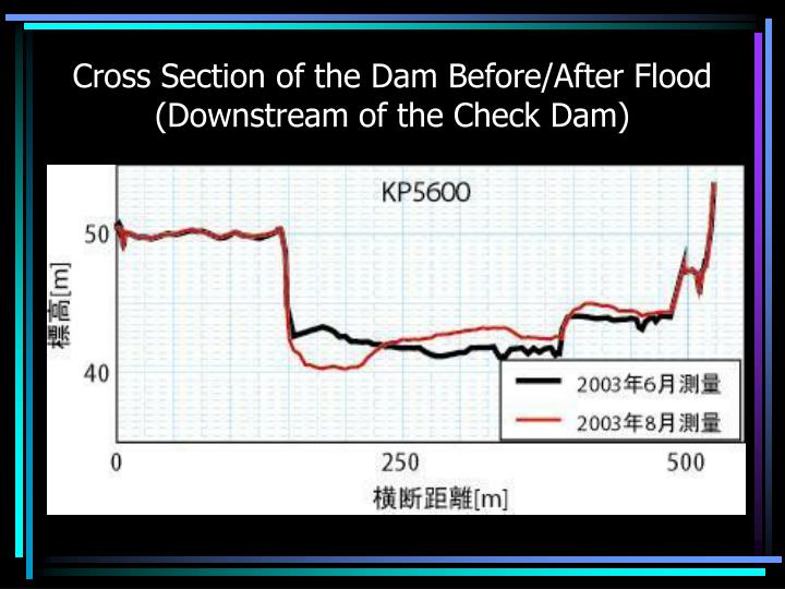 Cross Section of the Dam Before/After Flood (Downstream of the Check Dam)
