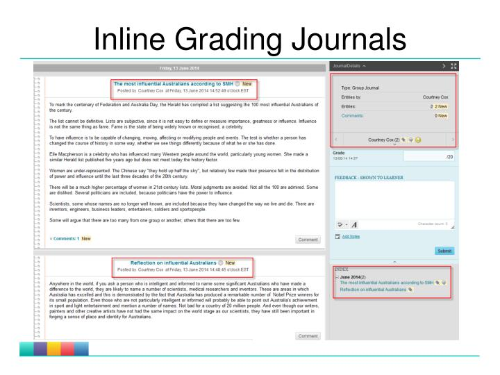 Inline Grading Journals