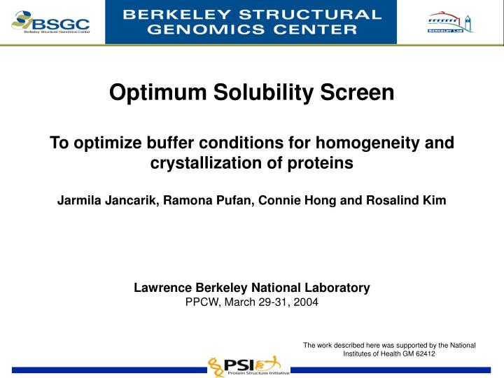 Optimum Solubility Screen