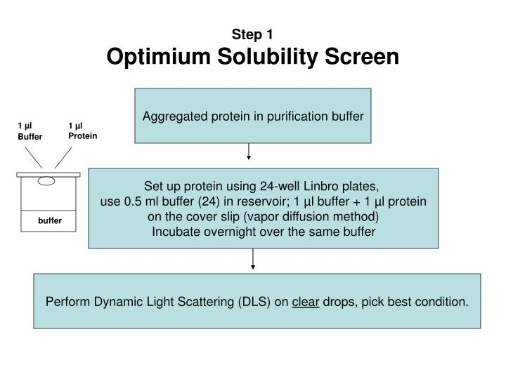 Step 1 optimium solubility screen