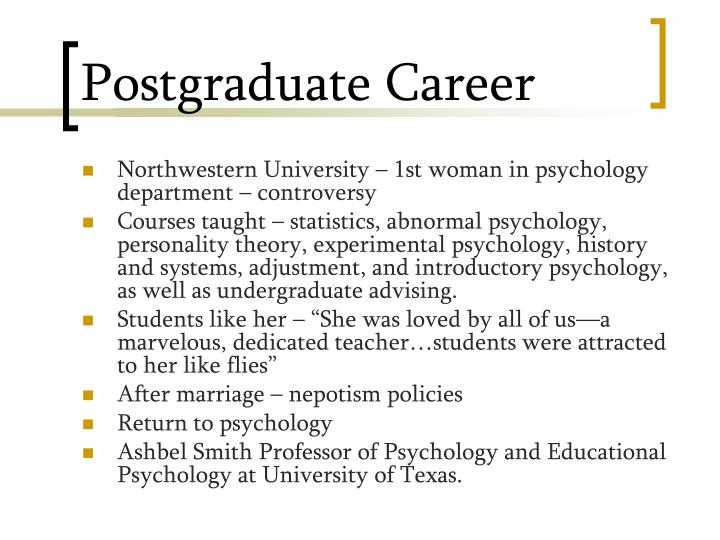 Postgraduate Career