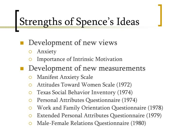Strengths of Spence's Ideas