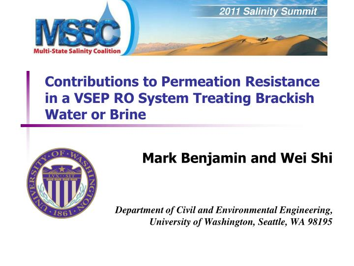 Contributions to permeation resistance in a vsep ro system treating brackish water or brine