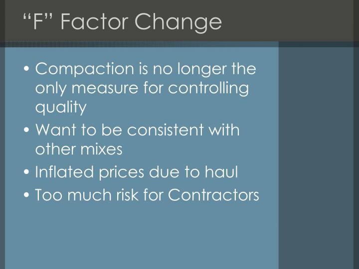 """F"" Factor Change"