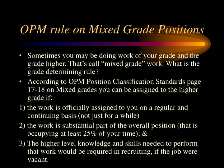 OPM rule on Mixed Grade Positions
