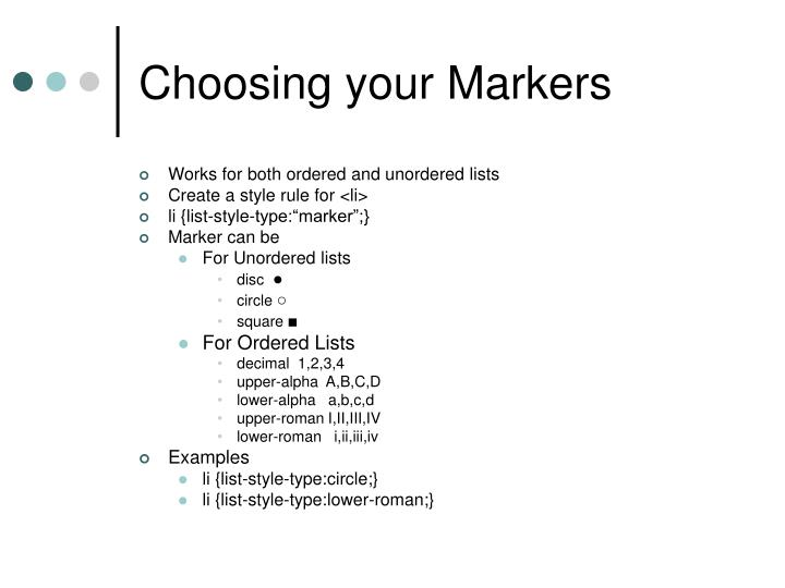 Choosing your Markers