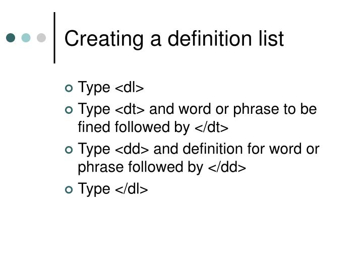 Creating a definition list