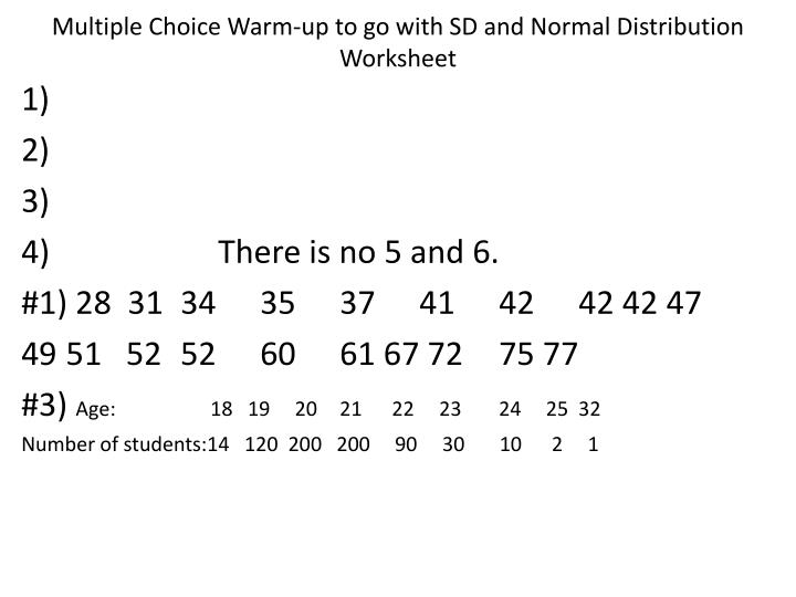 Normal distribution worksheet with answers