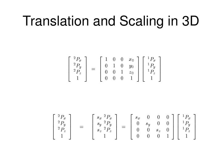 Translation and Scaling in 3D