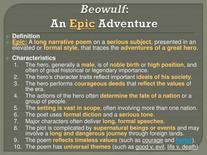 an analysis of epic poem beowolf Analysis beowulf / the narrator of beowulf uses several different tones over the course of this long epic poem, but throughout everything he is always super formal.