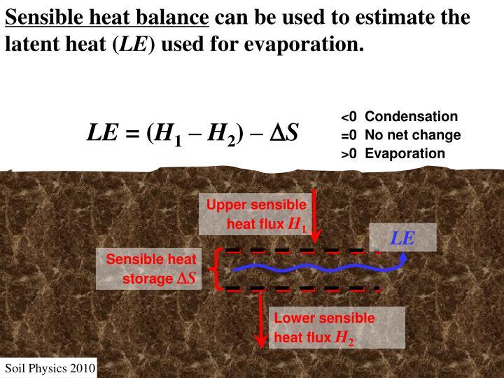 Sensible heat balance