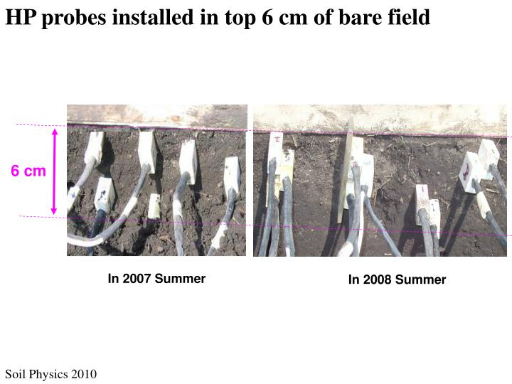 HP probes installed in top 6 cm of bare field