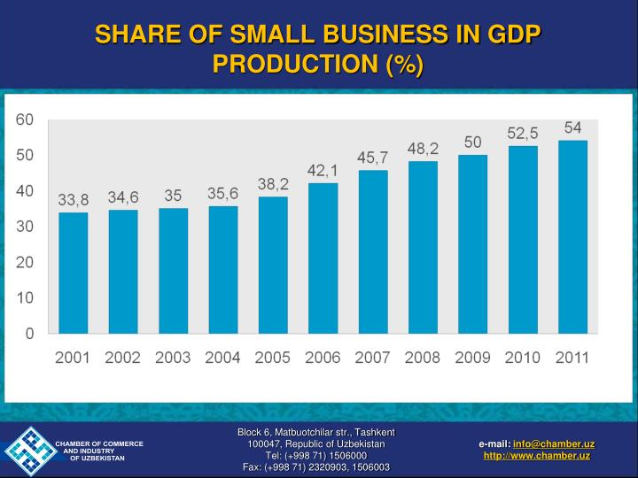 SHARE OF SMALL BUSINESS IN GDP PRODUCTION