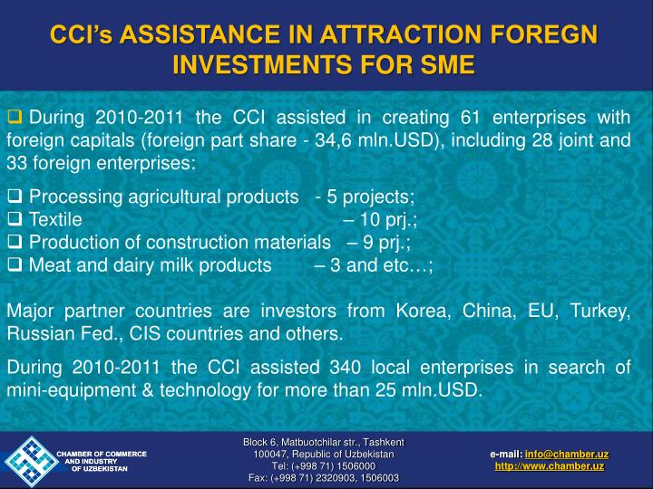 CCI's ASSISTANCE IN ATTRACTION FOREGN INVESTMENTS FOR SME