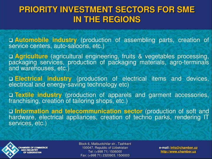 PRIORITY INVESTMENT SECTORS FOR SME IN THE REGIONS