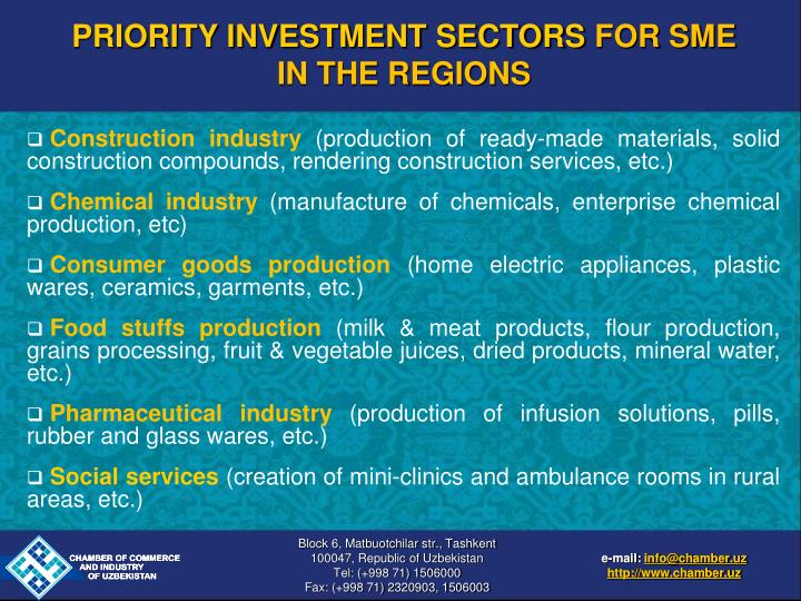 PRIORITY INVESTMENT SECTORS