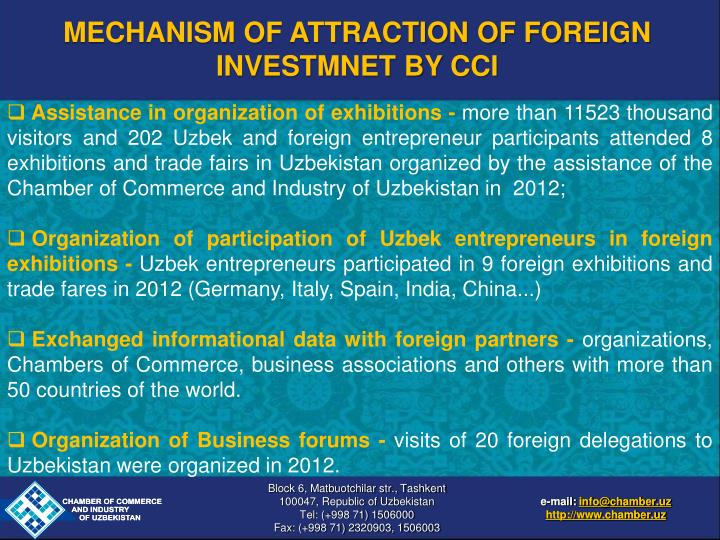 MECHANISM OF ATTRACTION OF FOREIGN INVESTMNET BY CCI