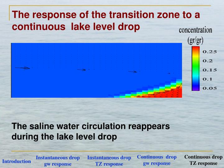 The response of the transition zone to a continuous  lake level drop
