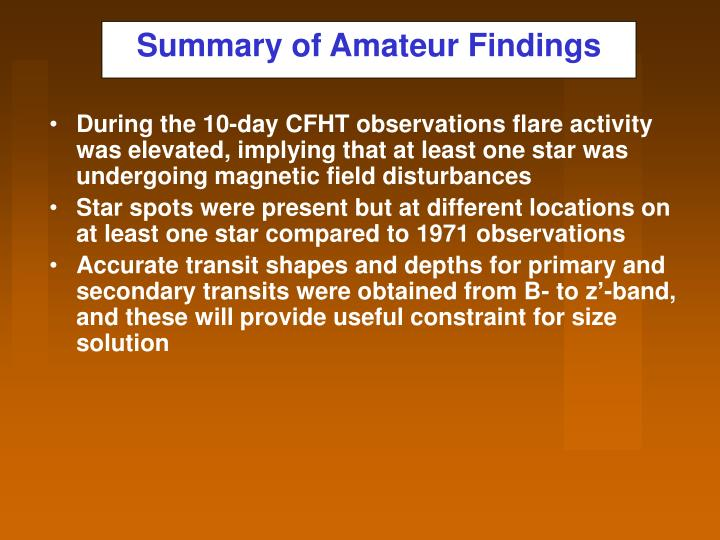 Summary of Amateur Findings