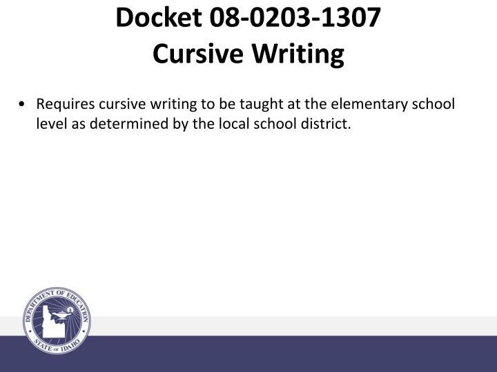 Docket 08-0203-1307