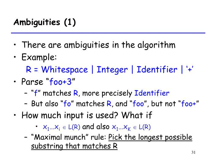 Ambiguities (1)