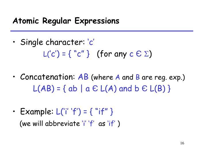 Atomic Regular Expressions