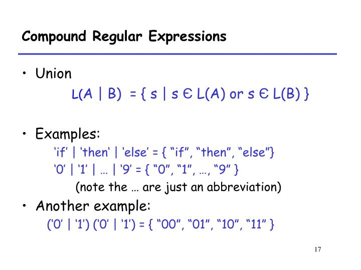 Compound Regular Expressions