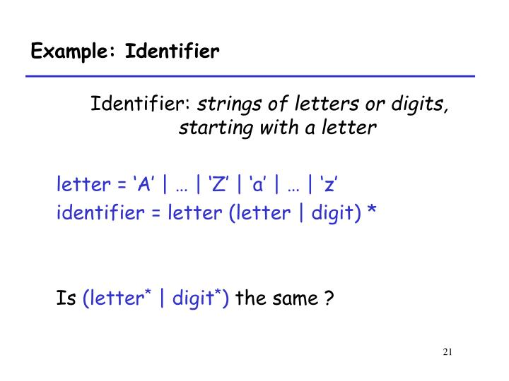 Example: Identifier
