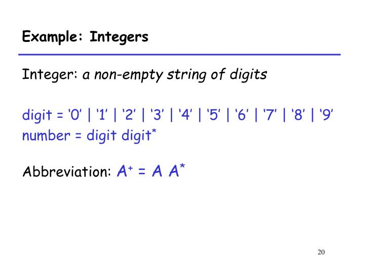 Example: Integers