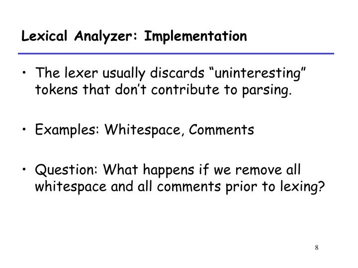 Lexical Analyzer: Implementation