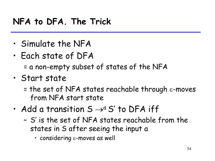 NFA to DFA. The Trick